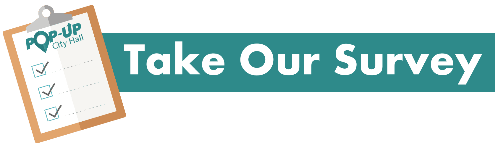 TakeOurSurvey Button, teal pop up city hall logo, with clipboard vector